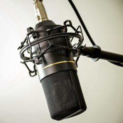 Black microphone on stand