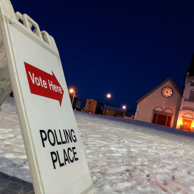 Election day at Nome's polling place, Old St. Joe's. Photo: David Dodman, KNOM file.