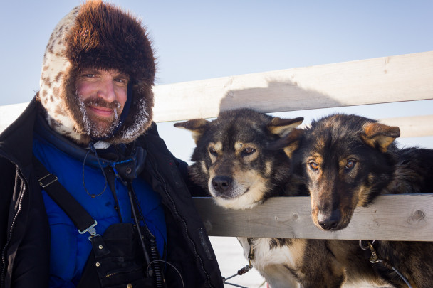 Rolland with sled dogs