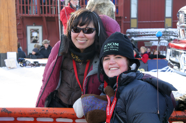 Leah and Laureli at the Iditarod finish line