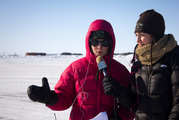 Margaret and Eva reporting from the finish line.