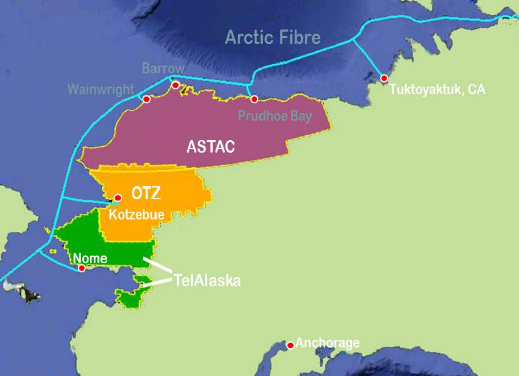 A detailed view of landing sites and spurs in northwest Alaska planned for the Arctic Fibre project. Image: Quintillion Networks.