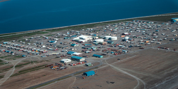 "Tikiġaq, or Point Hope, is one of the oldest continually inhabited sites in all of North America. The name means ""forefinger,"" which describes the shape of the point nestled below Cape Lisburne, and northwest of Cape Thompson. Photo: Zachariah Hughes, KNOM."