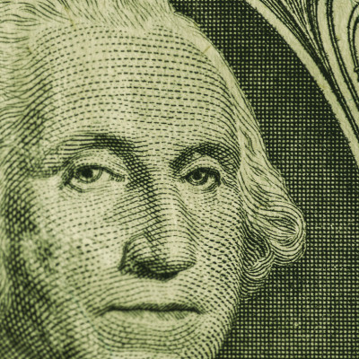Dollar bill close-up, George Washington