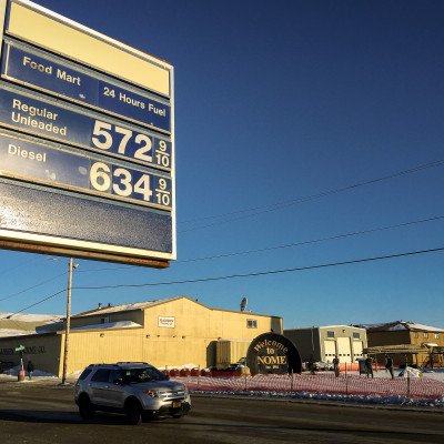 Gas prices in downtown Nome, February 2015