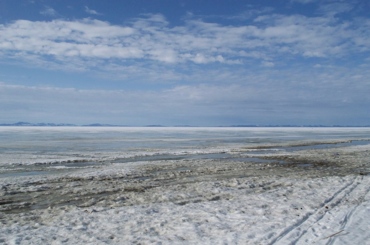 A frozen Kotzebue Sound, with the Kiana Hills in the distance. Photo: Jenn Ruckel, KNOM.
