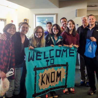 Welcoming Laura Kraegel at the Nome Airport