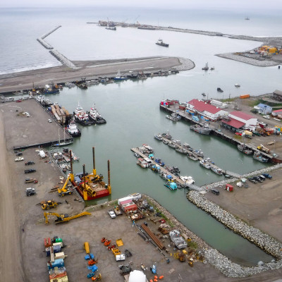 An aerial view of Nome's small boat harbor and port. Photo: Joy Baker, City of Nome.