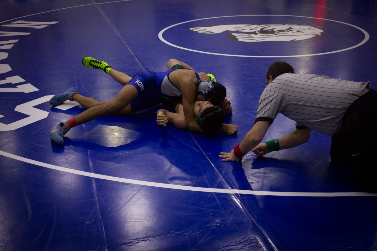 52 teams competed in the 123A State Championships for wrestling over the weekend. Bethel High School won the meet, while Nome-Beltz placed 22nd. Photo: Emily Russell, KNOM.