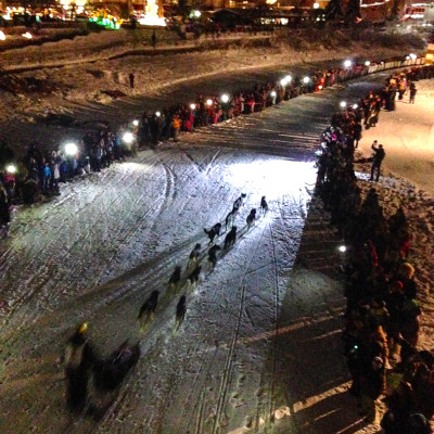 Brent Sass races to a first-place finish at the 2015 Yukon Quest. Photo: Emily Russell, KNOM.