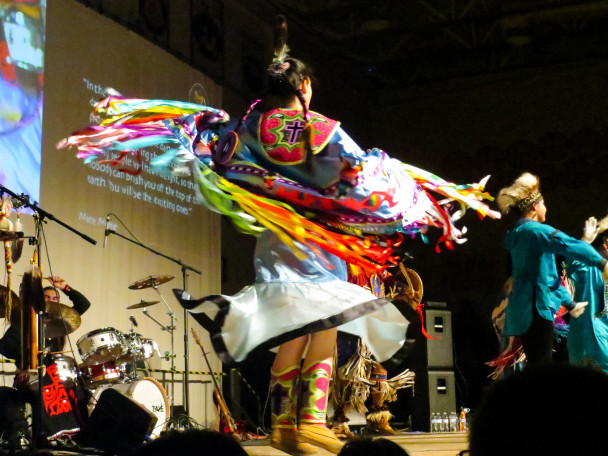 A dancer from the group Broken Walls performing at the festival. (Photo: Maddie Winchester, KNOM)