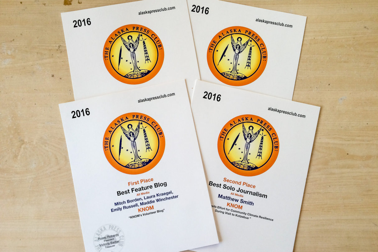 The four awards KNOM Radio won in 2016 from the Alaska Press Club. Photo: Mitch Borden, KNOM.