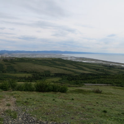 A view of Unalakleet from a nearby mountaintop. (Photo: Maddie Winchester, KNOM)