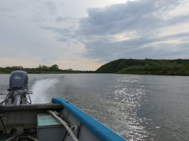 Boating on the Unalakleet River. (Photo: Maddie Winchester, KNOM)