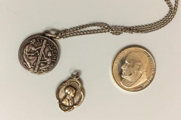 Three Medals: Saints Joseph, Pope John Paul II, and Elizabeth Ann Seton