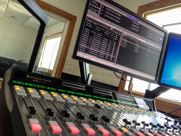 A close look at the sound board and computer in our new studios' main broadcast room. Photo: Ric Schmidt, KNOM.