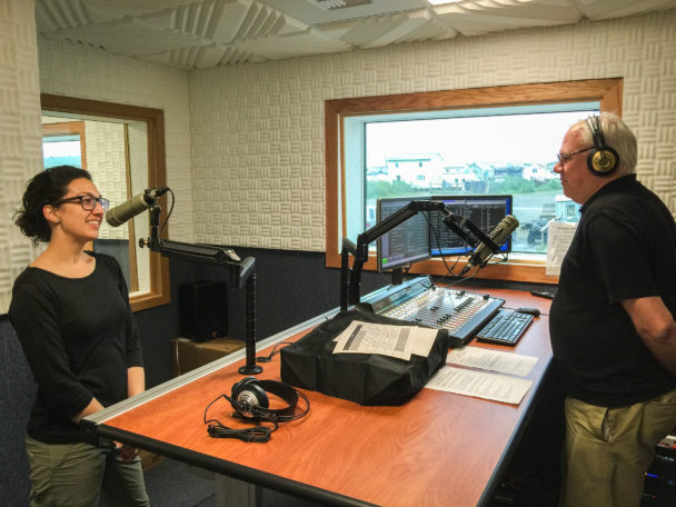 Margaret DeMaioribus and Ric Schmidt, on air in the new studios' main broadcast room. Photo: David Dodman, KNOM.