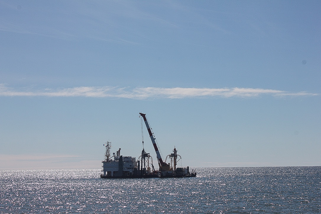 A cable-laying vessel with Quintillion, viewed from Nome's Front St. Photo: Lauren Frost/KNOM