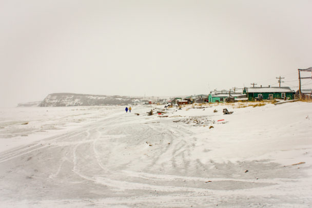 The landscape of the Stebbins beachfront, covered in winter snow and ice. Photo: Emily Russell, KNOM.