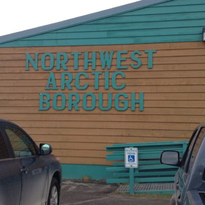 """Northwest Arctic Borough"" written on the side of a government building."