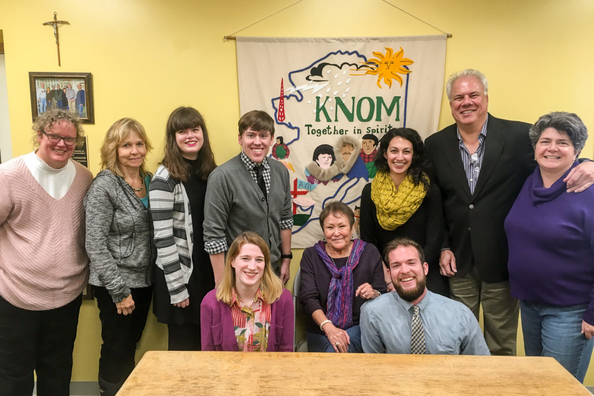 KNOM staff and friends at the dedication of the Tom and Florence Busch Digital Studios