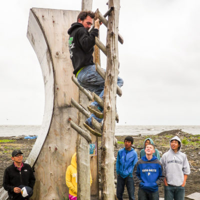 "Nick Hanson scales a ""salmon ladder"" in his hometown of Unalakleet."