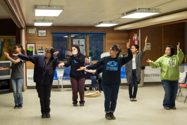The Nome/St. Lawrence Island Dancers rehearse.
