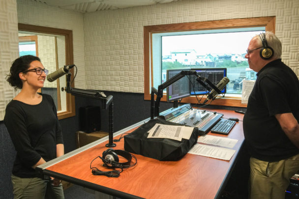 Margaret and Ric chat, on the air, in KNOM digital studios