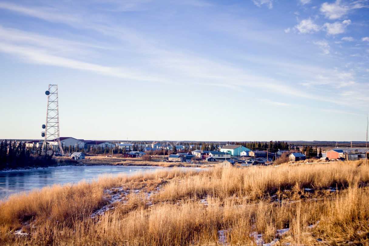 A skyline view of the community of Noorvik, Alaska, and the surrounding countryside