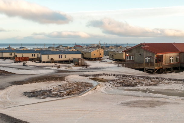 An overview of Savoonga, Alaska, in early January.