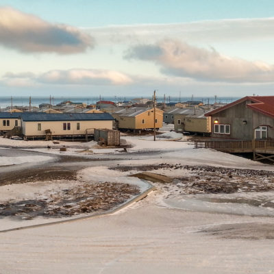An overview of the village of Savoonga, Alaska, January 2017.