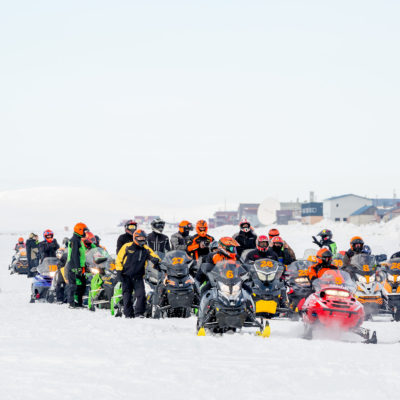 Starting line at the 2017 Nome-Golovin Snowmachine Race, on the sea ice in front of Nome, Alaska.