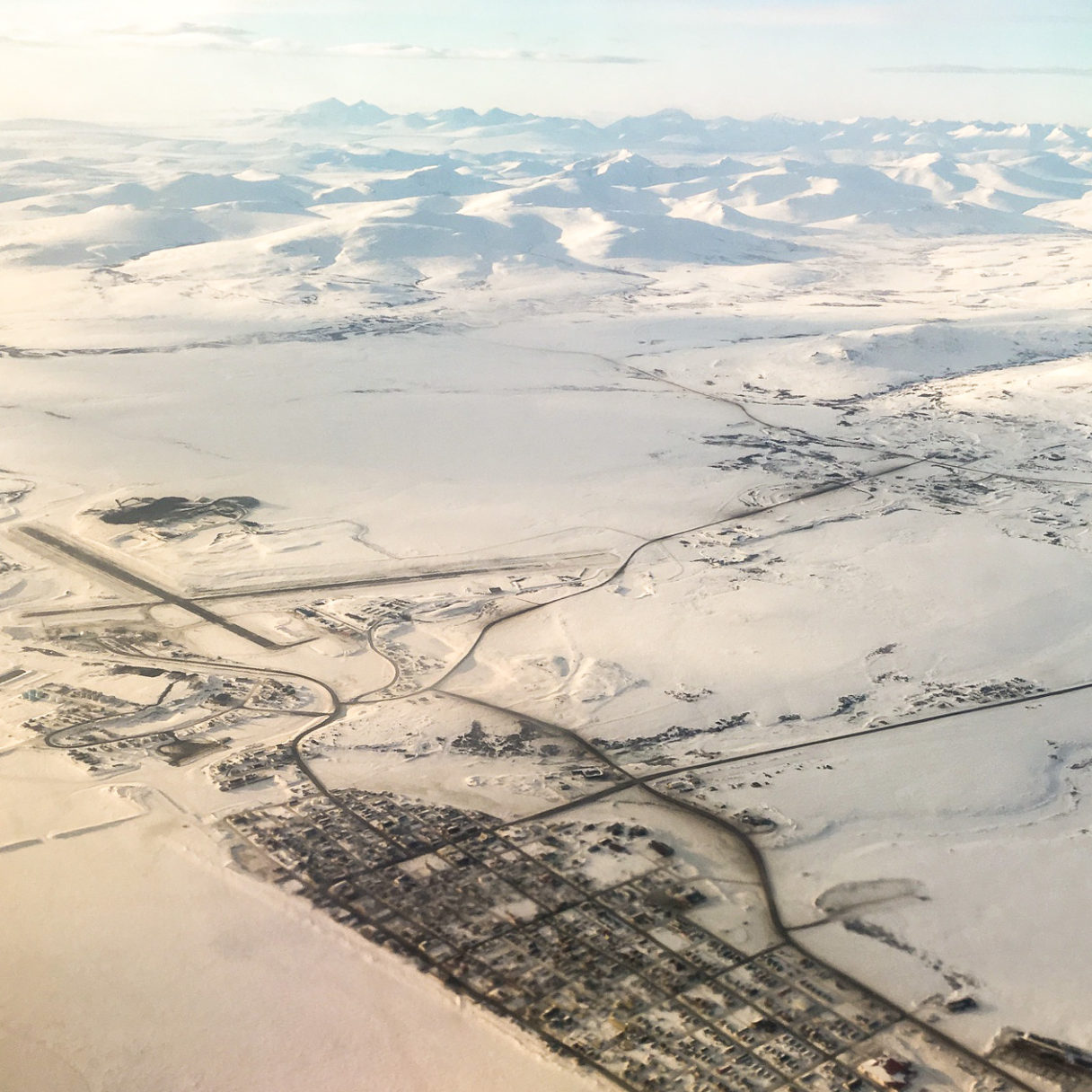 An aerial view of Nome, Alaska, and the surrounding countryside.