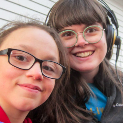 """Selfie"" of Kiana middle school student Shaedyn Barr and radio producer Lauren Frost"