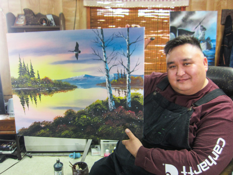 Don Henry and his finished painting