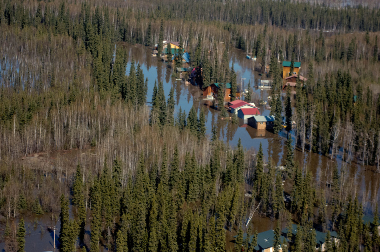 An aerial overview of flooding in a small Alaska village