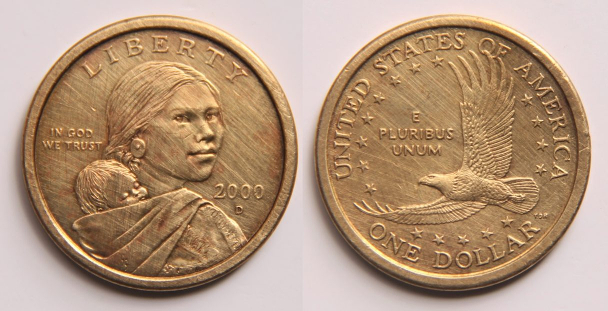Front and back of 2000-era US dollar coin, featuring Sacagawea