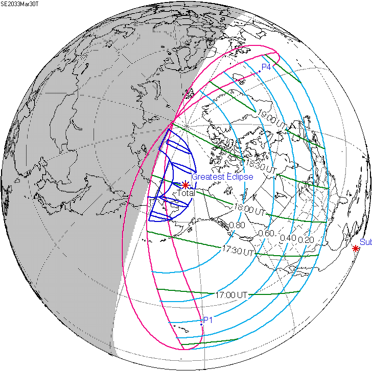 Map showing the path of the 2033 total solar eclipse