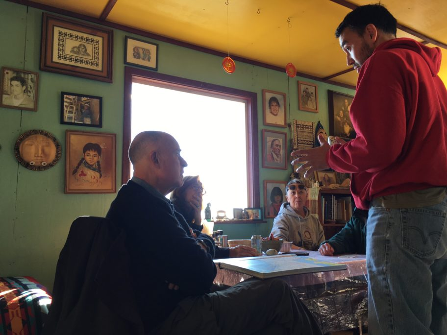 Governor Jerry Brown of California discusses climate change and other topics inside a Nome residence. Photo Credit: Office of Gov. Jerry Brown, used with permission (2017).