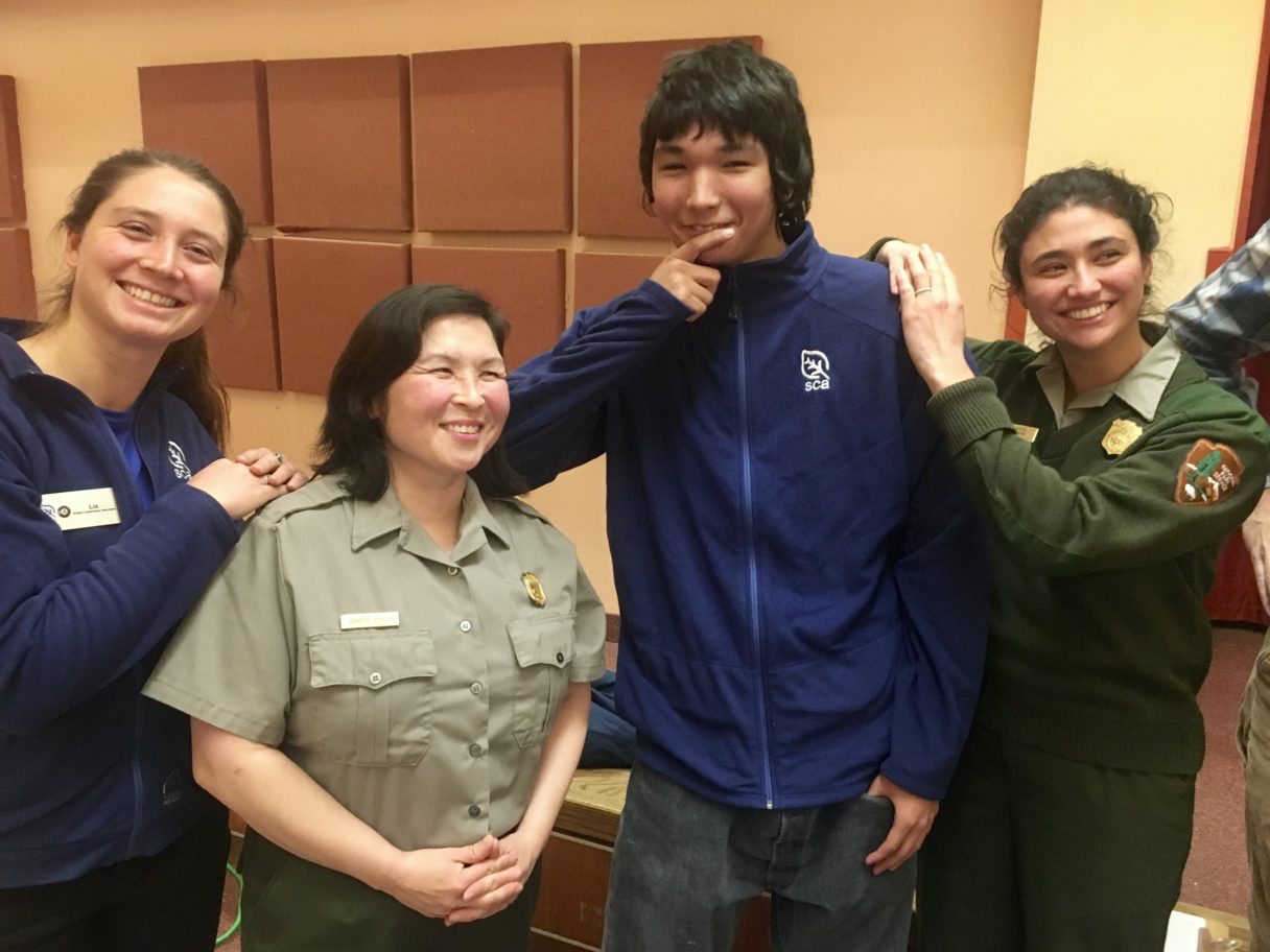 "SCA media and education intern Lia Nydes, Bering Land Bridge National Preserve Superintendent Jeanette Koelsch, Nichlos Gutowski, and NPS Park Ranger Lupe Zaragoza spoke about their experiences after the screening of ""National Park DIaries"" in Nome."