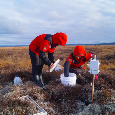 Members of the KOPRI research team take samples at their site near Council (Photo courtesy of Min Jung Kwon, 2017)