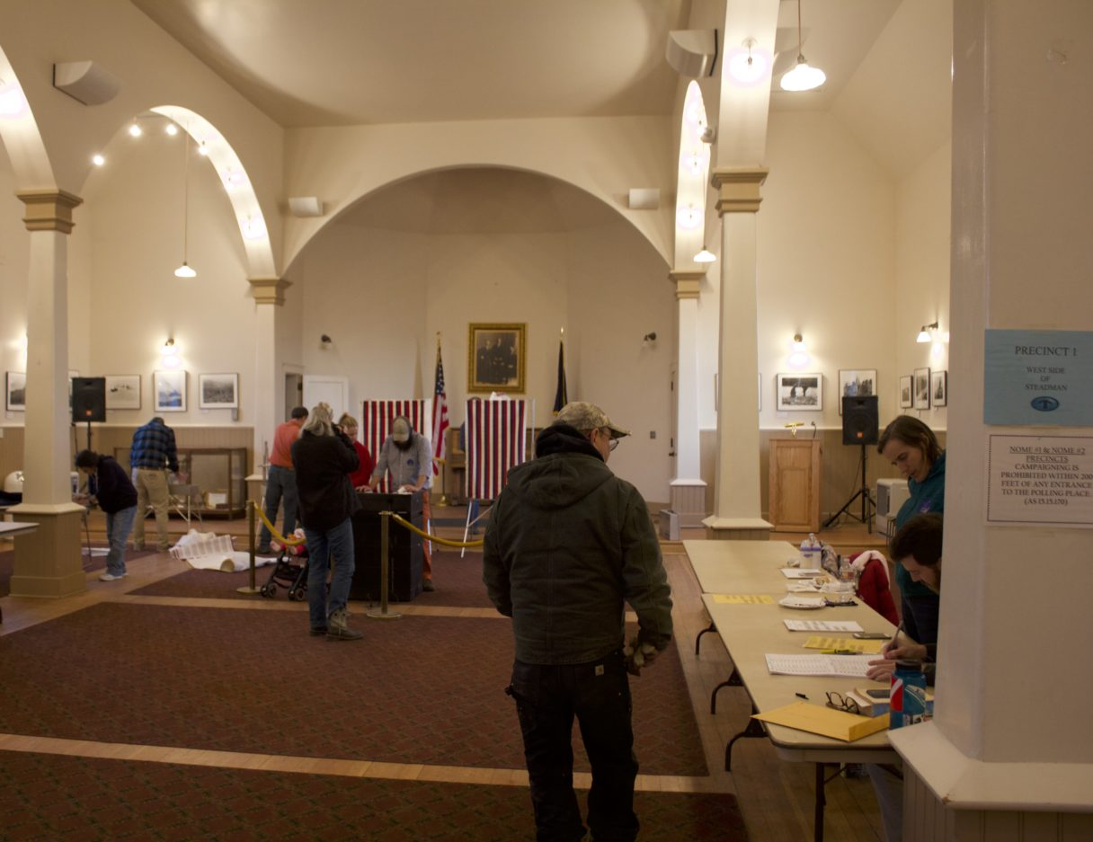 Nome's polling place on Municipal Election day. Photo Credit: Gabe Colombo, KNOM (2017)