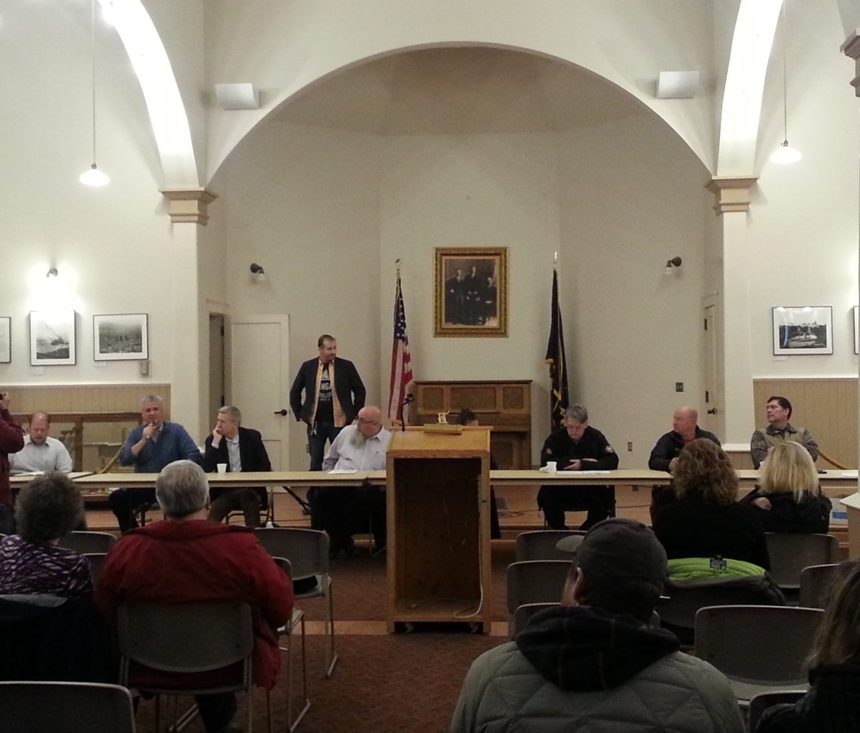 D.O.C. Commissioner Dean Williams, AMCC Superintendent Sandy Martinson, Nome City Councilmen, and others gathered for a town hall meeting regarding sex offenders being housed at Seaside. Photo Credit: Davis Hovey, KNOM (2017)