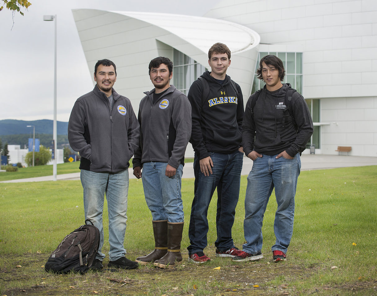Gabe Smith of Nome and others will receive $2,500 each to go towards their tuition costs. From left: Kendrick Hantala, Carlton Hantala, Keenan Sandersen and Gabriel Smith. Photo Credit: Crowley Fuel (2017)
