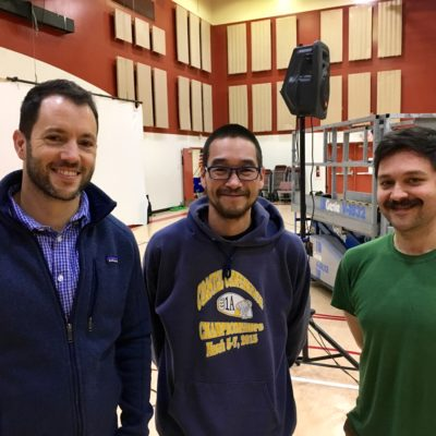 Collaborators Ryan Conarro, Gary Beaver, and Justin Perkins before the Nome premier of Alaxsxa | Alaska.