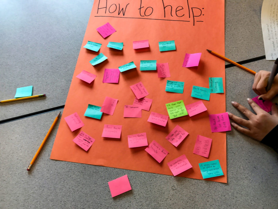 """Colorful sticky notes on a large piece of paper entitled """"How to Help."""""""