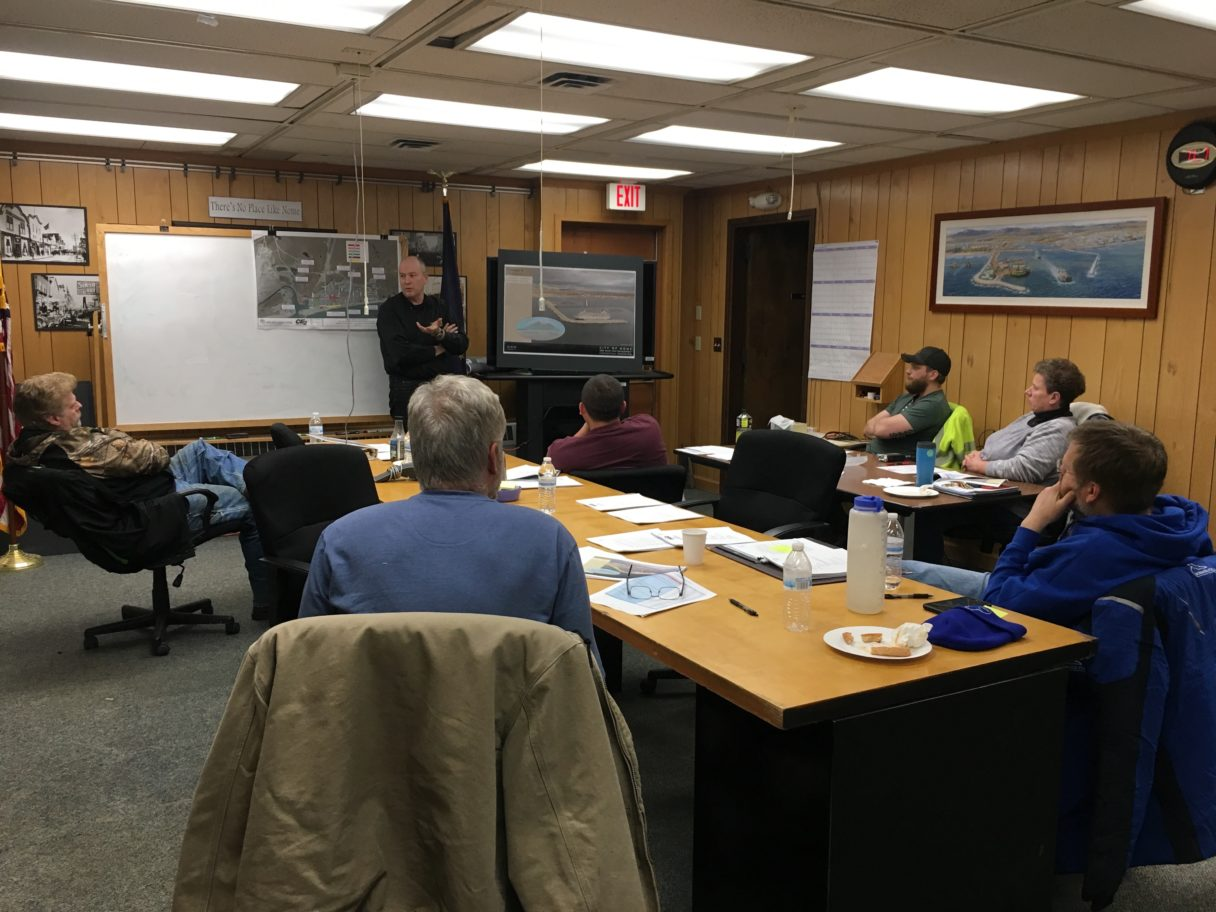 Garth Howlett, senior engineer at PND Engineers, presents options for a deep draft port to the Nome Port Commission.