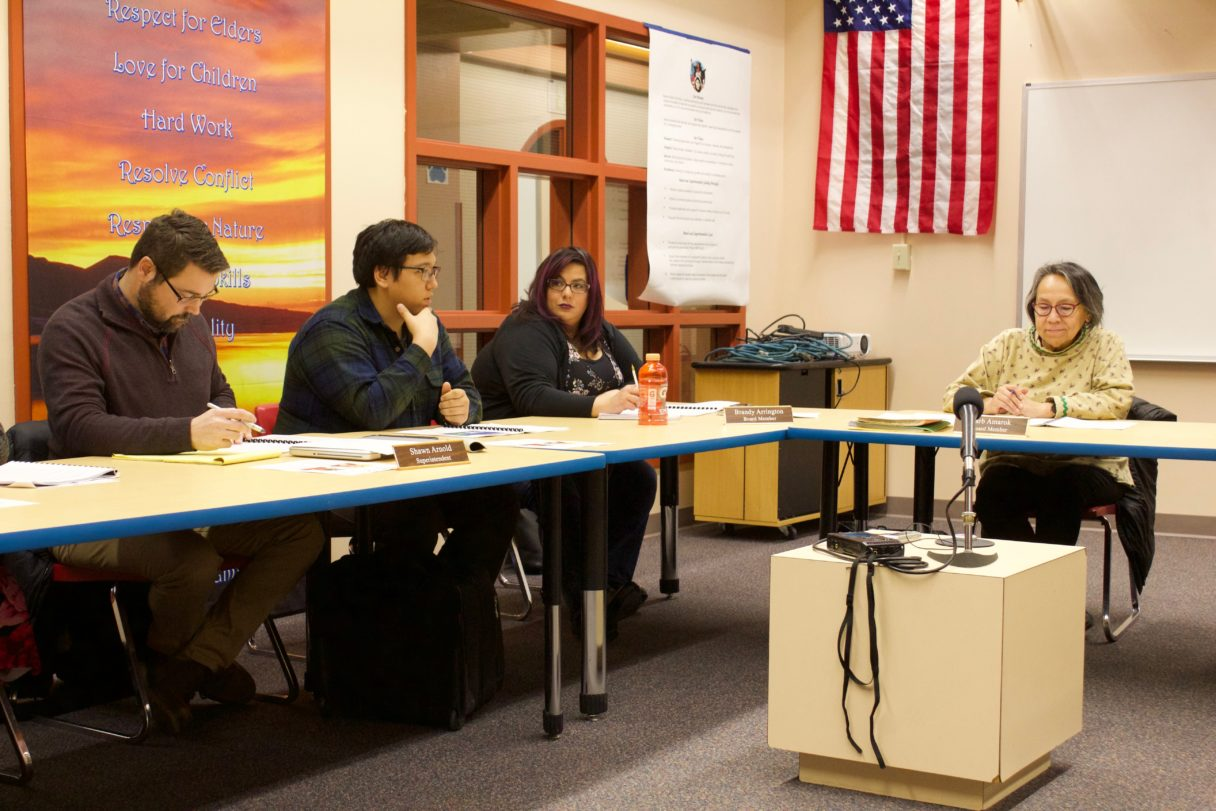 Student representative Donald Smith gives his report to the Nome Public Schools Board of Education at their November regular meeting (Gabe Colombo, KNOM, 2017)