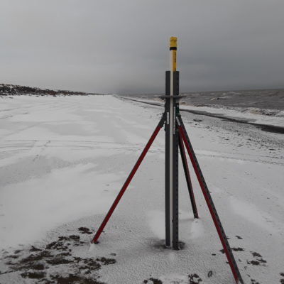 UAF's storm surge sensor set up in Shaktoolik to gather data on wave levels and more for NOAA weather forecasts. Photo Credit: Davis Hovey, KNOM (2017)