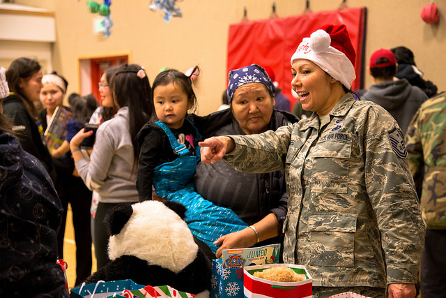 Families flocked to the St. Michael school gym for treats delivered by the Alaska National Guard during Operation Santa Claus 2017.